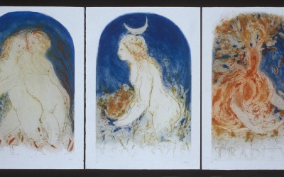 La condanna dello sguardo - cm 70 x 50 a colori - acquaforte, acquatinta, cera molle - 1984
